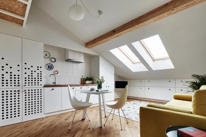 un espace ouvert optimisé avec petite cuisine, salon et salle à manger, un placard sous pente encastré au mur qui se fond dans le décor