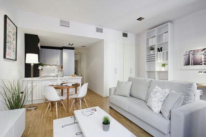 sofa gris clair avec coussins, sol en bois, chaises scandinaves, petite cuisine équipée blanche, étagère blanche