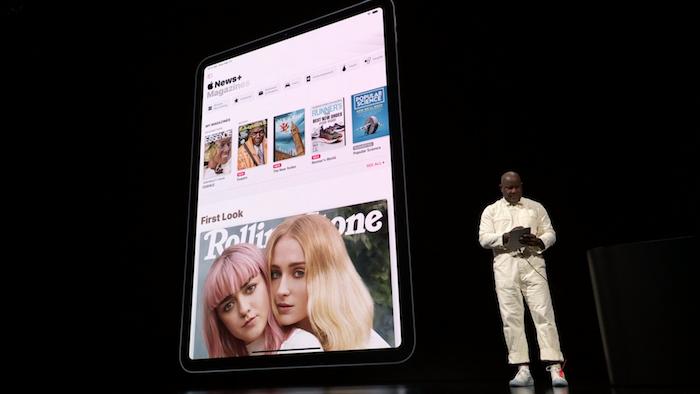 Présentation de la nouvelle application Apple News Plus permettant un abonnement illimité à 300 magazines présentée à l'Apple Keynote 2019