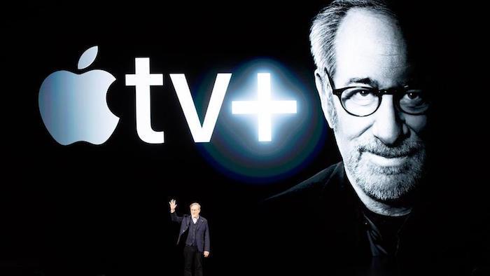 Photo de Steven Spielberg venu présenté le nouveau service de l'Apple TV Plus pendant la Apple Keynote 2019