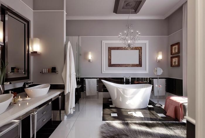 modèle salle de bain en blanc gris et noir, agencement grande salle de bain avec baignoire et cabine de douche