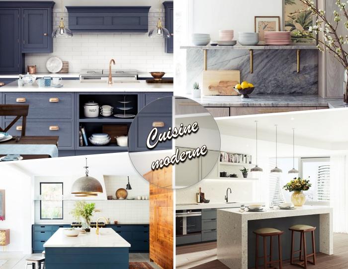 idée couleur mur cuisine avec meuble bois, agencement cuisine avec îlot à rangement ouvert et fermé, modèle plan de travail marbre