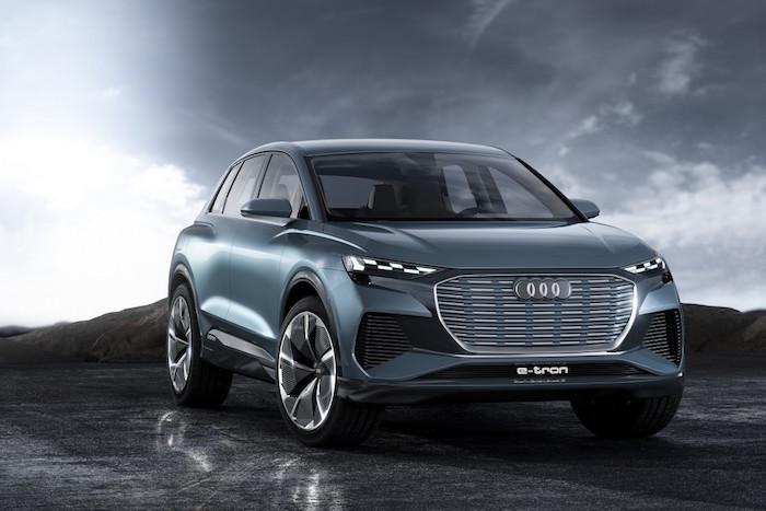 photo design Audi Q4 E-Tron SUV 100% électrique présenté au salon de l'auto de Genève