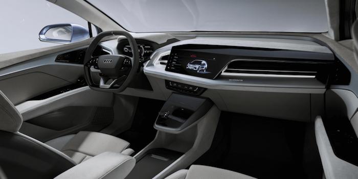 photo intérieur habitacle du nouveau suv électrique Audi Q4 e tron vendu à partir de 2020 et présenté à Genève au salon de l'auto