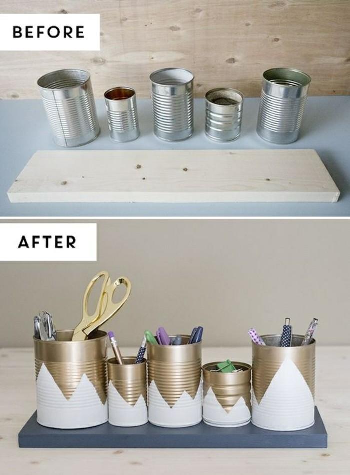 activité manuelle facile et rapide, comment décorer les boîtes conserves avec peinture pour en faire des porte-crayons