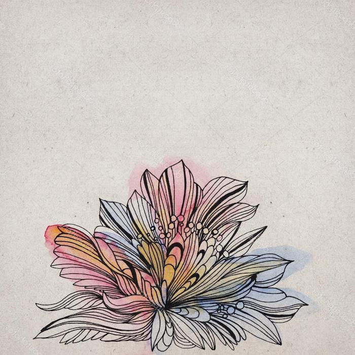 Coloré fleur dessin couleur dessin etape par etape art simplement expliqué