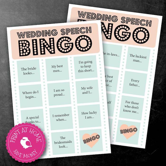 Bingo pour les toasts de mariage, fil rouge mariage, jeux soirée, comment planifier un mariage reception