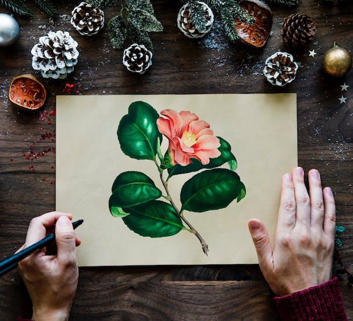 Carte de voeux diy papier jaune, dessin feutre de fleur coloré, dessin facile a reproduire par etape la beauté du printemps dessin