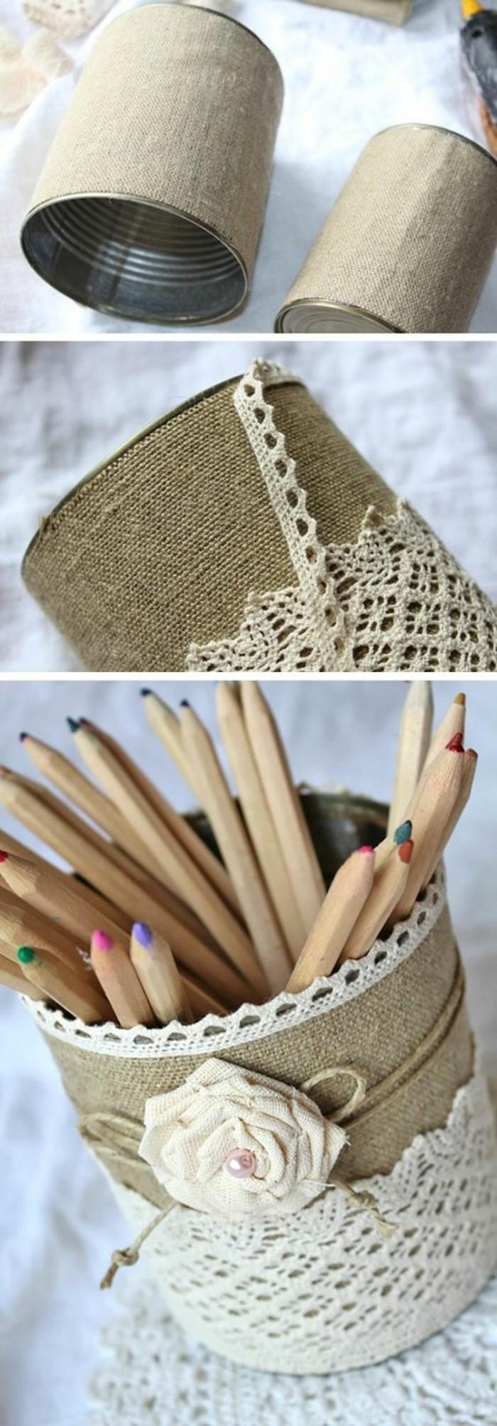 que faire avec boite de conserve vide, fabriquer porte-crayons en canette, comment décorer une boîte conserve avec tissu et dentelle