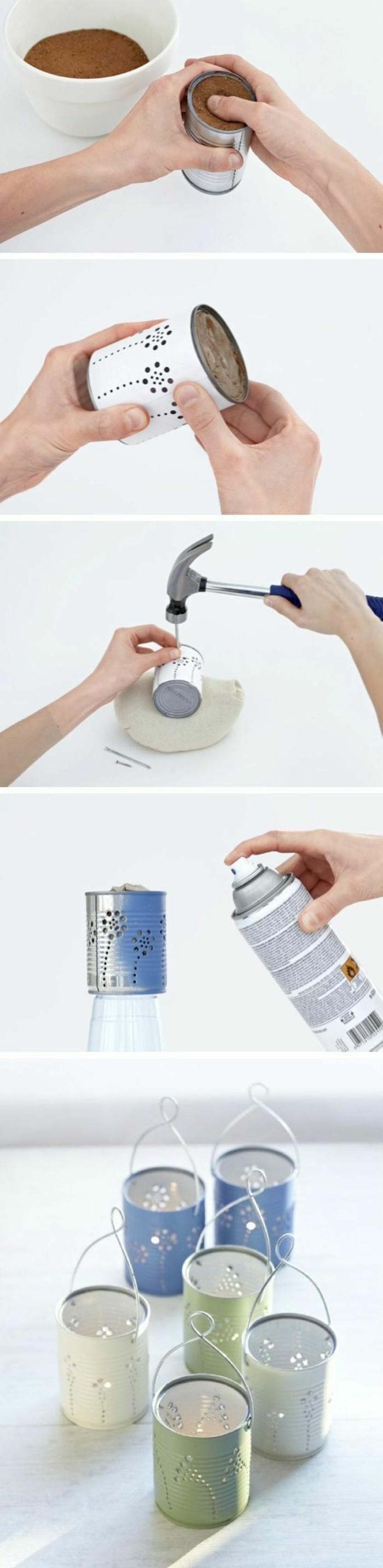 étapes à suivre pour réaliser mini lanterne en canette, idée que faire avec une boîte de conserve, diy lanterne en boîte aluminium