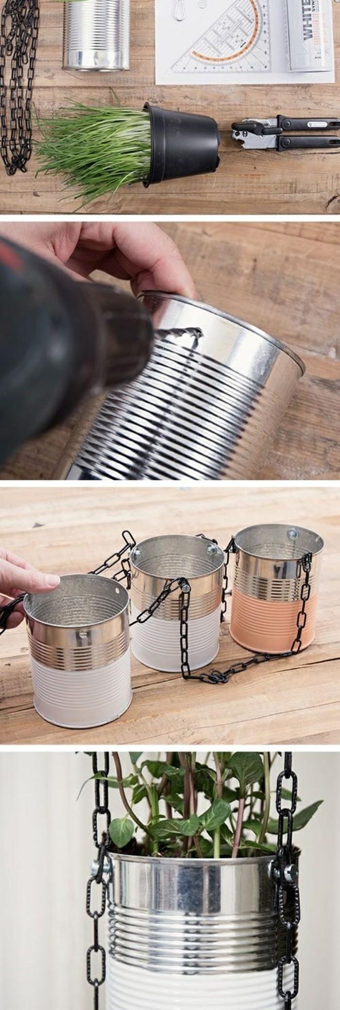 idée bricolage facile avec canettes, faire des trous sur une boîte conserve, fabriquer une suspension florale en canette