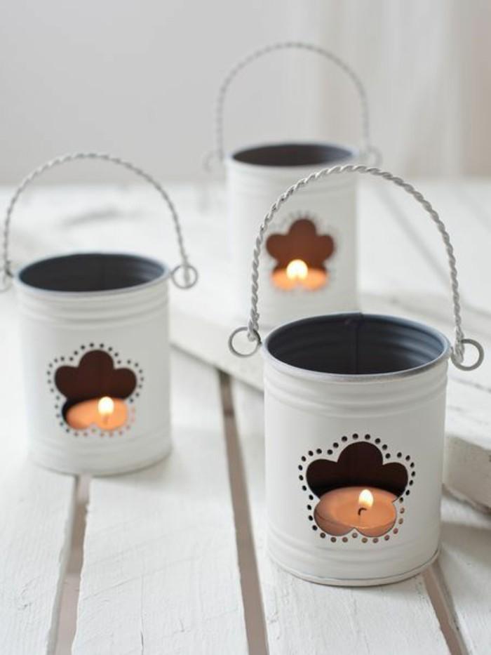 idée bougeoir original à faire soi-même, comment recycler une boîte de conserve, fabriquer un bougeoir lanterne