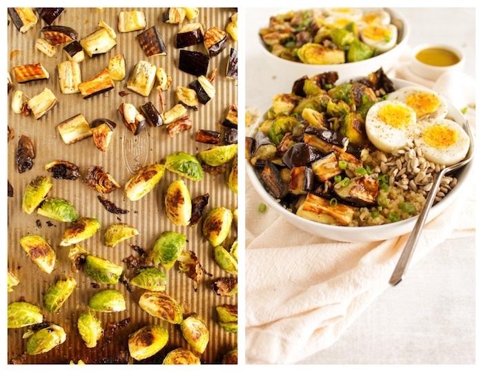 recette protéines végétales et œufs, chou de bruxelles, graines de tournesol et quinoa, façon bouddha bowl, recette pour le soir