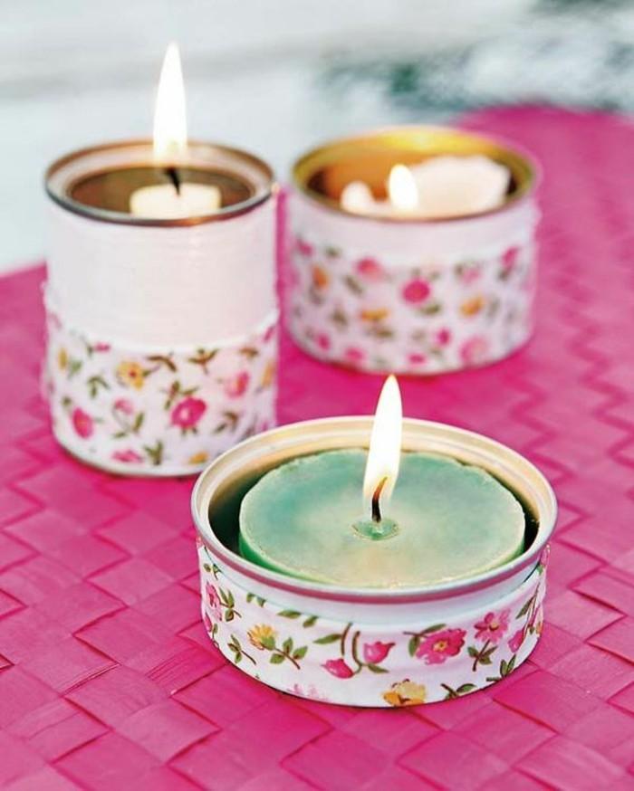 fabriquer des mini bougeoirs faciles, deco boite conserve avec tissu et peinture, recyclage boîte de conserve