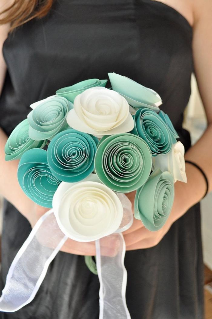 un bouquet de roses en papier aux nuances du vert, idée de fleur en papier facile pour réaliser un joli bouquet éternel