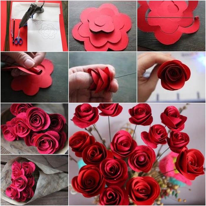 idée déco avec des roses en papier, bouquet de roses en papier rouges réalisées à partir d'un patron découpé