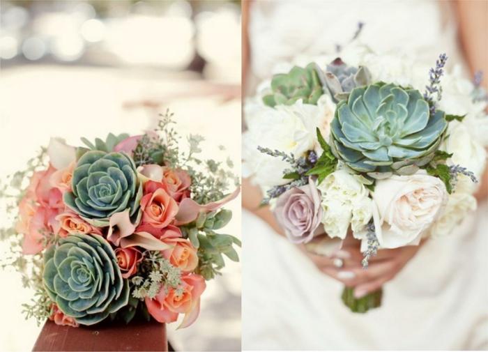 bouquet champêtre de succulentes, roses couleurs pastels, roses blanches, petite bouquet texturé