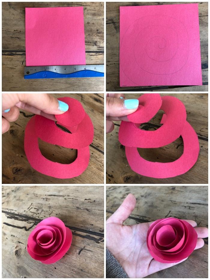 technique simple pour apprendre à faire des fleurs en papier, rose en papier réalisée à partir d'une spirale enroulée