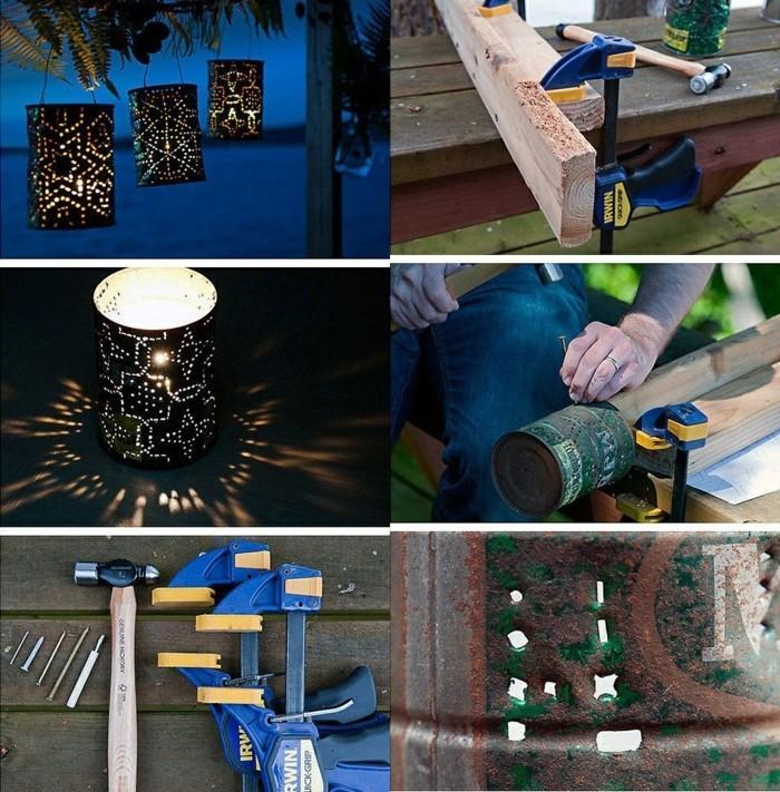 tutoriel pour faire une lanterne en canette recyclée, étapes à suivre pour réaliser une lampe avec boîte de conserve