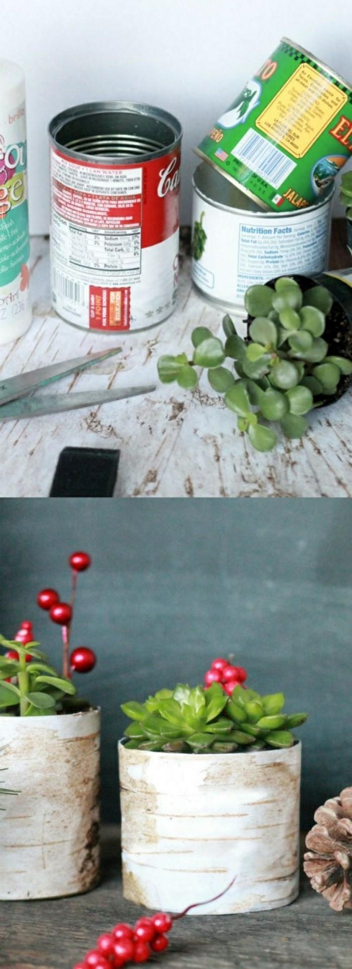 fabriquer contenants pour fleurs en canettes recyclées, comment décorer une boîte de conserve, loisir créatif facile