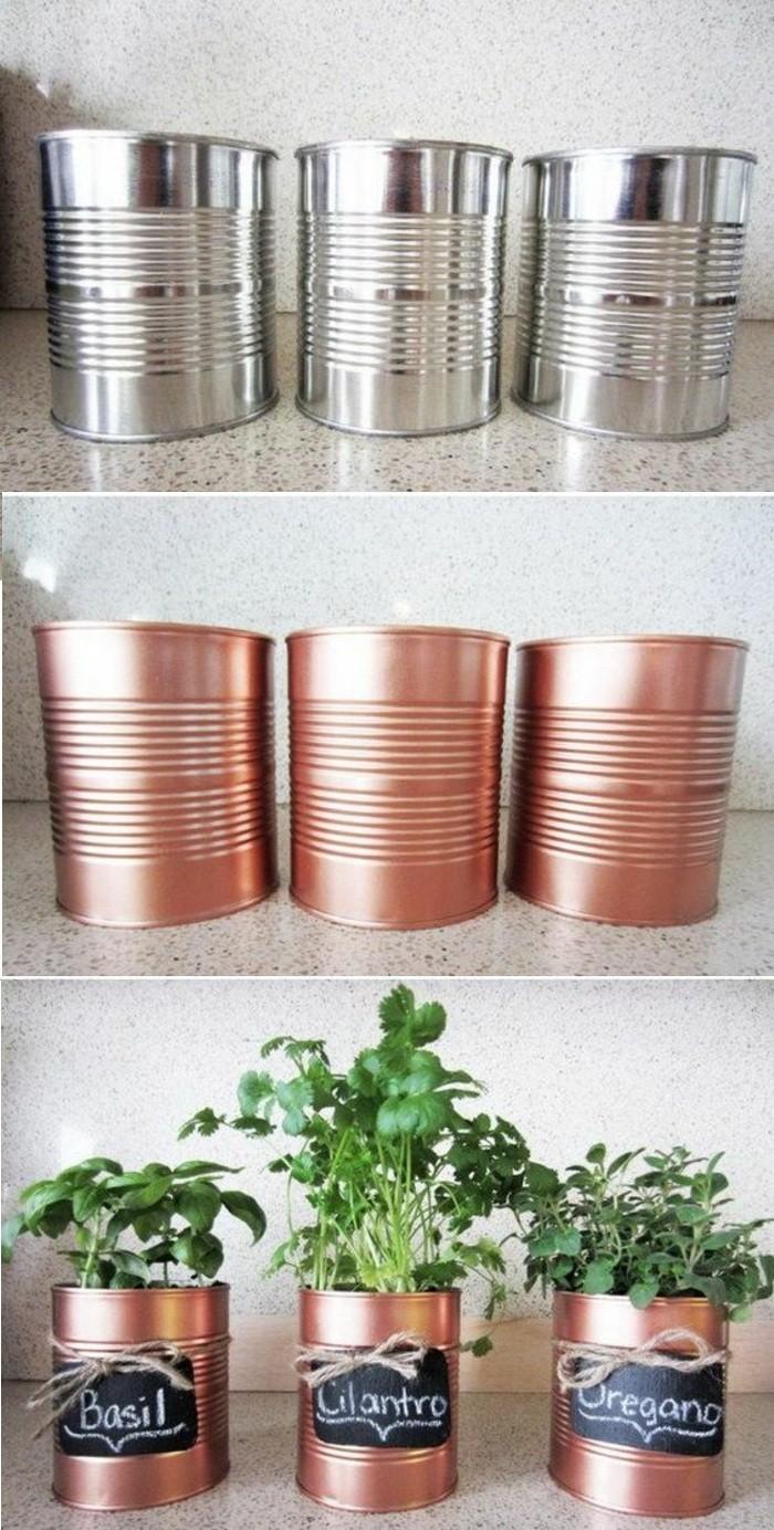 exemple comment transformer une boite de conserve avec peinture et étiquette, contenant pour herbes maison diy