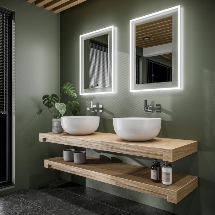 choix de peinture étanche salle de bain de couleur vert foncé, design intérieur moderne avec accents en bois et gris