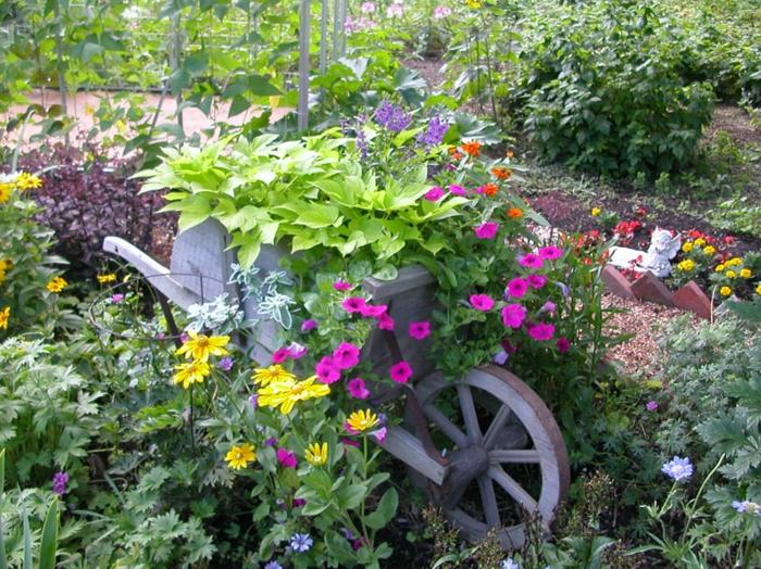 carrosse rustique en bois au sein du jardin, fleurs en couleurs vives, déco jardin rustique