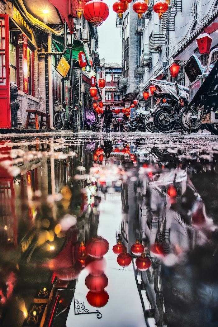 Rue au quartier chinois, automne pluie fond ecran paysage de ville, paysage urbain, photo inspiration voyage