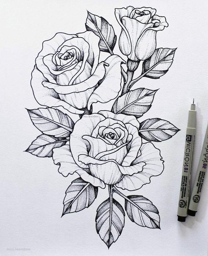 Fleurs roses dessin beau en composition parfait pour tatouage, dessin fleur noir et blanc dessin etape par etape