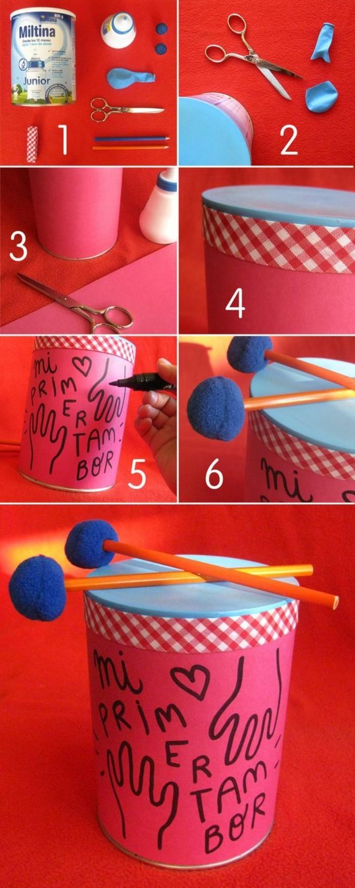 fabriquer un mini tambour pour enfant, que faire avec une boîte conserve, loisir créatif pour petits, recyclage canette