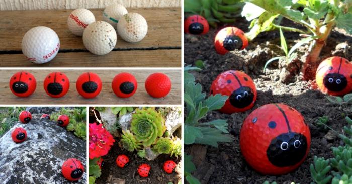 décoration jardin avec coccinnelles en balles de aseball, peindre de petites boules comme coccinnelles