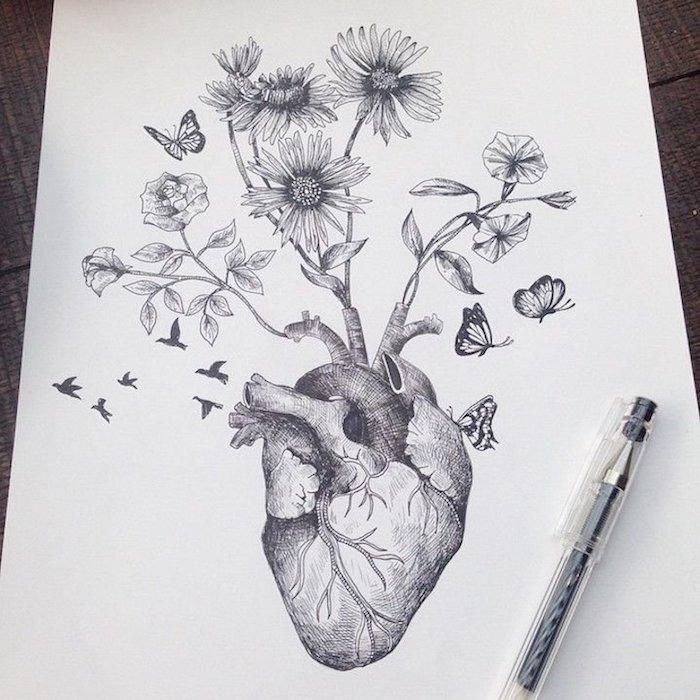 Coeur et fleurs, dessin professionnel a faire etape par etape, dessiner comme un artiste