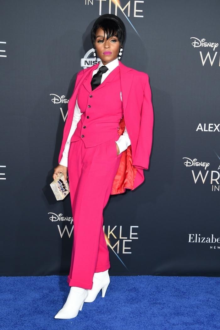 exemple de pantalon fluide femme en rose, modèle de smoking femme en trois pièces avec gilet rose fuschia à boutons noirs
