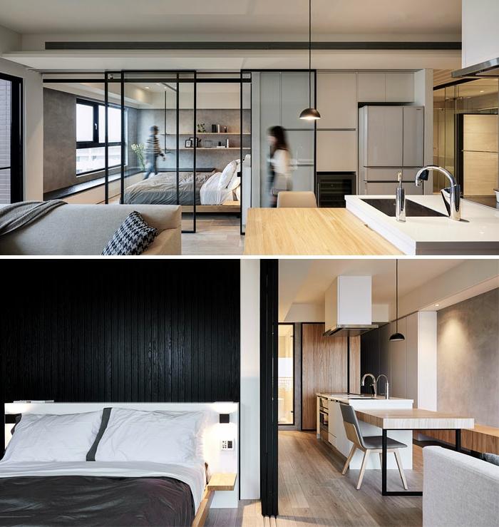amenagement petite cuisine en bois, portes coulissantes, lampe suspendue industrielle, ilot avec évier