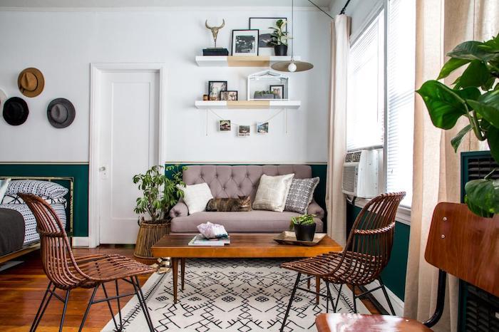deco studio, salon à coté d une chambre à coucher design style jungle urbaine, deco de plantes accents orientaux, soubassement peinture verte, chaises rotin