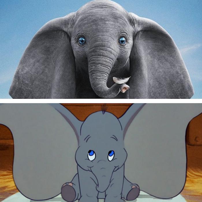 collage image du remake de l'éléphant aux grandes oreilles Dumbo 2019 par Tim Burton et de l'original Disney de 1941