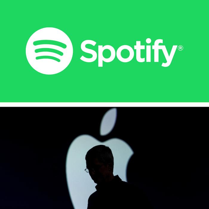 logo spotify et apple pour illustre la plainte devant la commission européenne pour abus de position dominante antitrust
