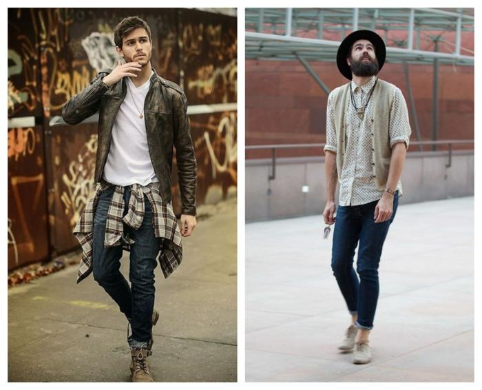 hommes hippie, jeans enroulés, chaussures couleur crème, chemise à carreaux beige, veste en cuir