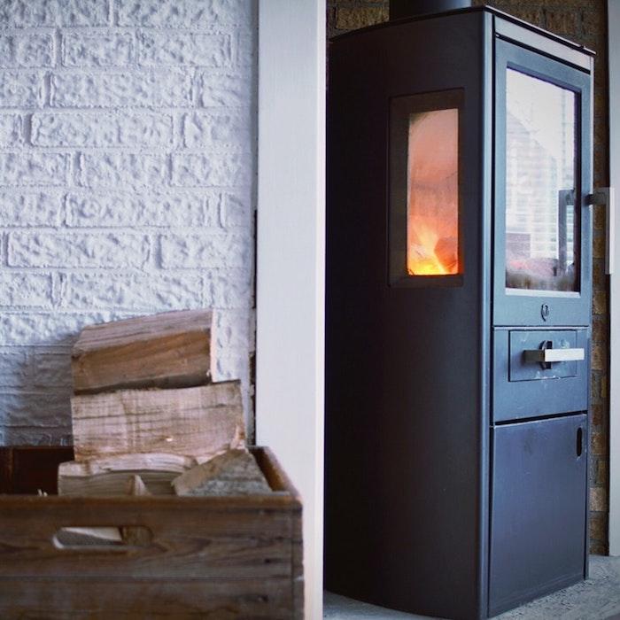 les astuces pour choisir une cheminée ou poêle, exemple poêle à bois design avec combustible bûches de bois, cheminées d'inspiration
