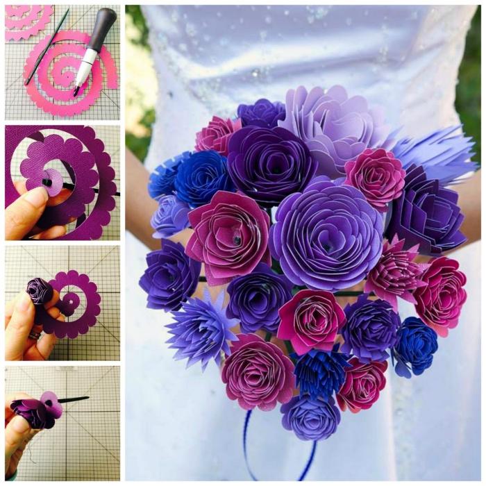 bouquet de mariage original composé de fleurs en papier cartonné, tuto fleur en papier facile à partir d'une bande de papier enroulée sur soi-même