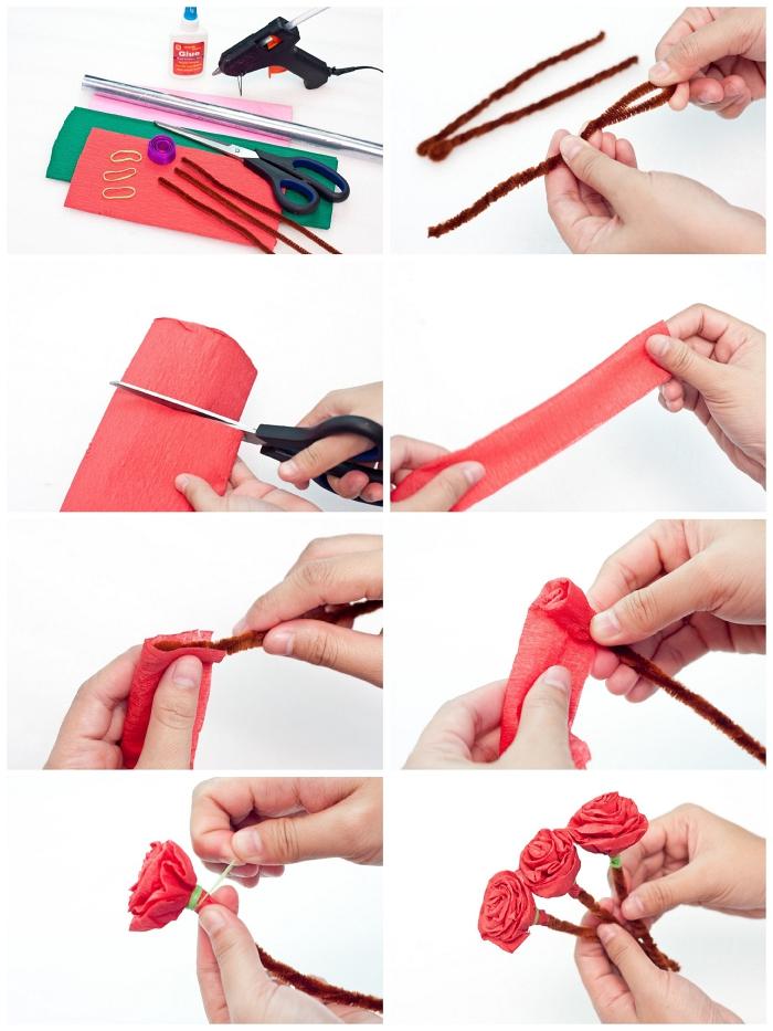 comment faire des fleurs en papier crépon pour un joli bouquet en papier, bouquet de roses en papier pour la fête des mères