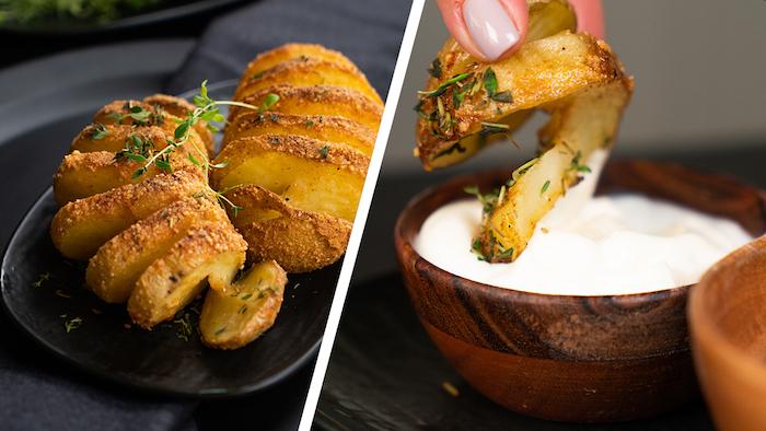 pomme de terre à la suédoise recette de pommes de terre au parmesan roties au four avec sauce yaourt