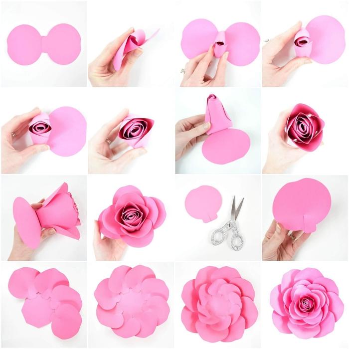 comment faire des fleurs en papier, jolie rose épanouie de nombreuses pétales découpées dans du papier