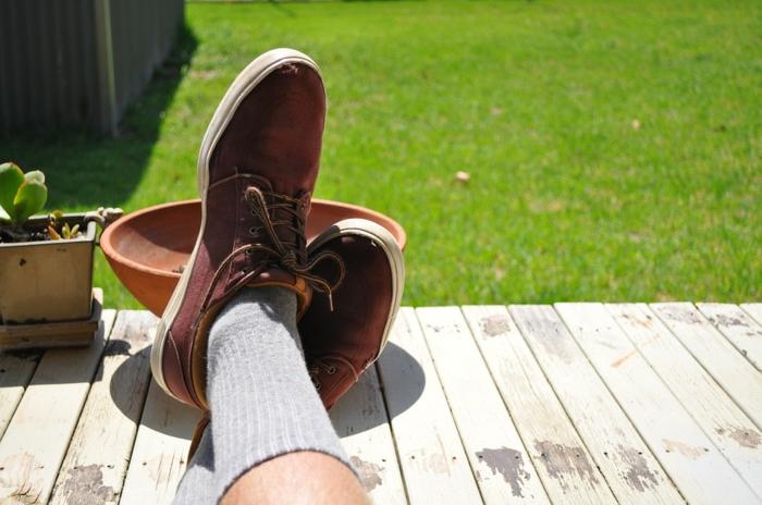 pelouse verte, terrasse sur gazon, basjets oranges, pots de fleur, constuire une terrasse en bois