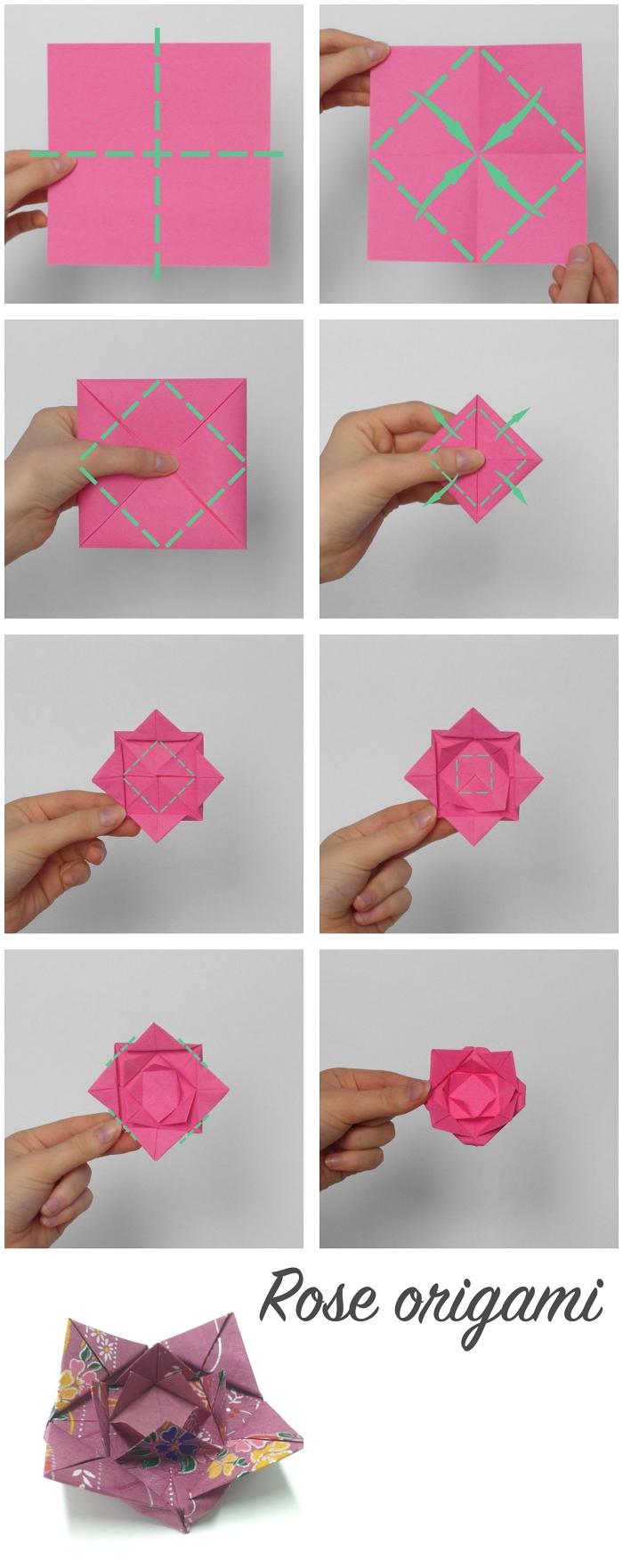 pliage facile d'une origami rose avec des instructions illustrées étape par étape, modèle de rose origami kawasaki