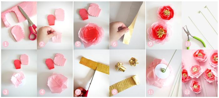 comment faire des fleurs en papier crépon, tuto pour faire une rose papier crépon avec pistil doré et tige verte, bricolage fête des mères