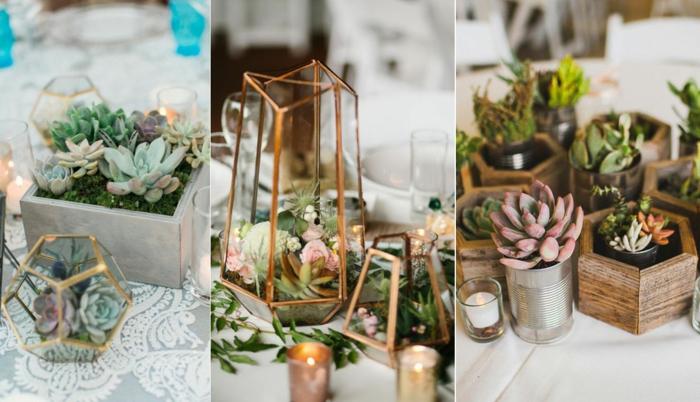 petite déco de table, succulentes plantées, pots de fleurs en bois, décorations florales de table de mariage