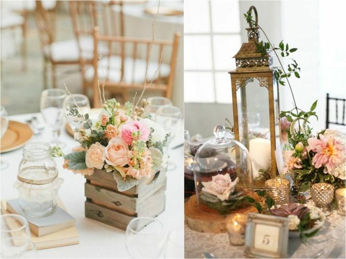 lanterne et fleurs en couleurs douces, petit caisson en bois, chaises en bois, tables rondes