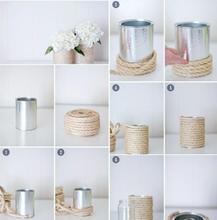 tutoriel pour faire un vase original avec matériaux simples, étapes à suivre pour transformer une canette en pot à fleur