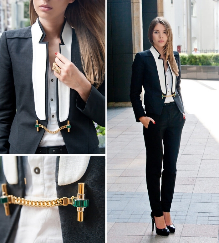 style vestimentaire femme élégante en costume noir avec pantalon slim et chemise blanche à boutons noirs, modèle de blazer original en noir et blanc